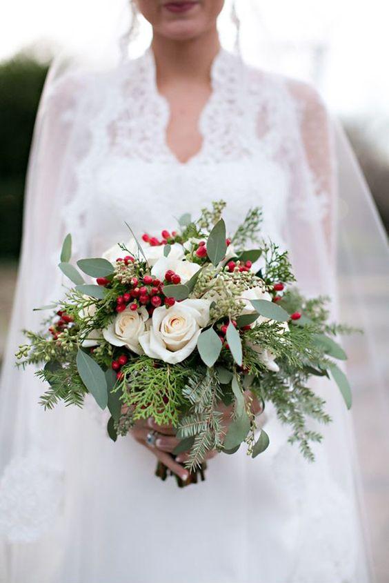 ramos de novia navideños