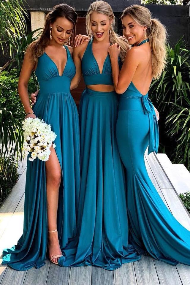 Vestidos para damas de honor en color vino