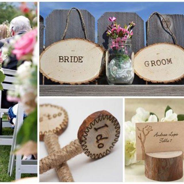 Decoración con troncos para bodas rústicas o campestres
