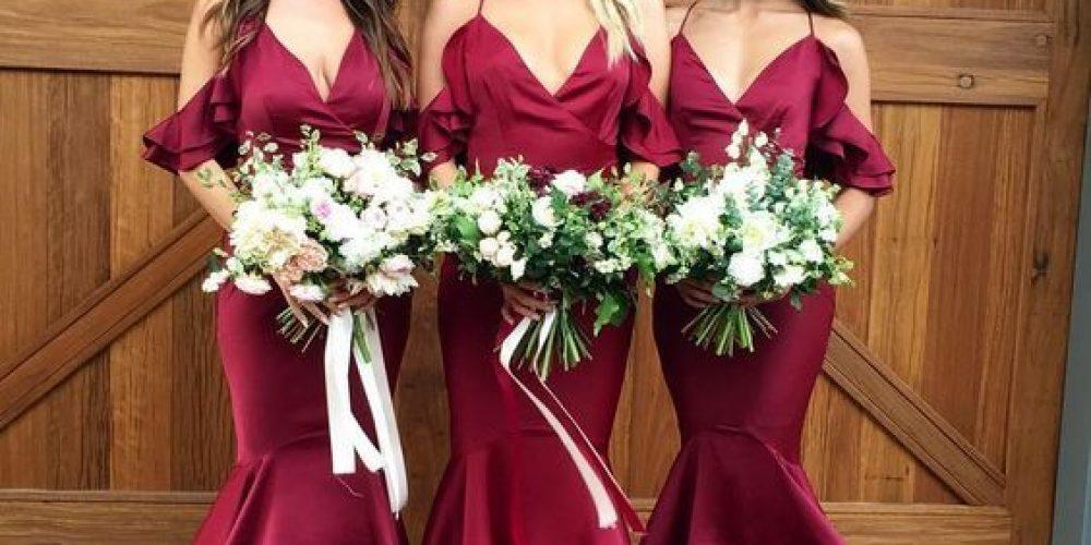 Vestidos V-Neck para las damas de honor